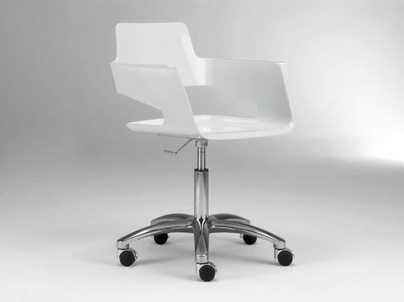 B32 office PRO, Office chair on castors, glossy nylon seat and back , swivel and height-adjustable