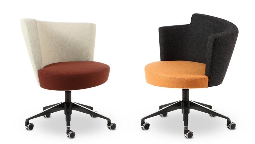 ELIPSE 14, Fabric armchair with wheels