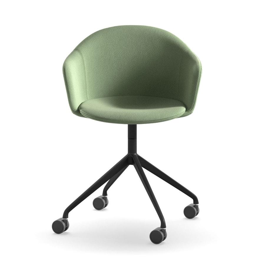 Máni Armshell fabric HO 4, Home-office swivel armchair