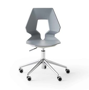 Prodige 5R, Modern office chair with wheels, in metal and polymer