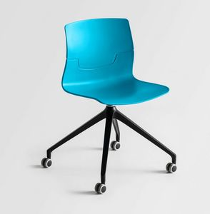 Slot UR, Swivel chair on wheels, 4-spoke, sitting in polymer