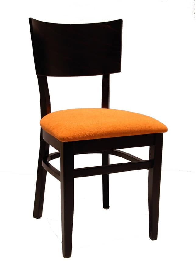 0512, Chair for restaurant, with upholstered seat in fabric