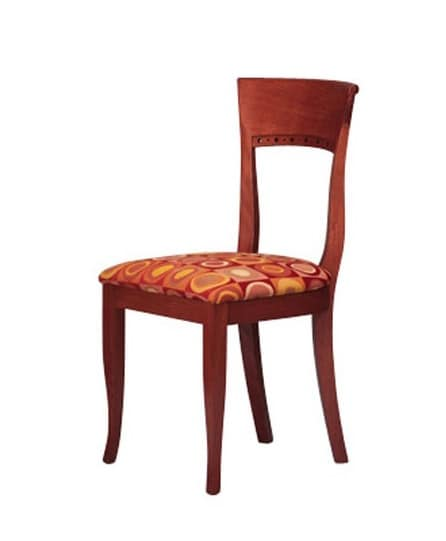 440, Simple beech chair, upholstered seat, for hotel