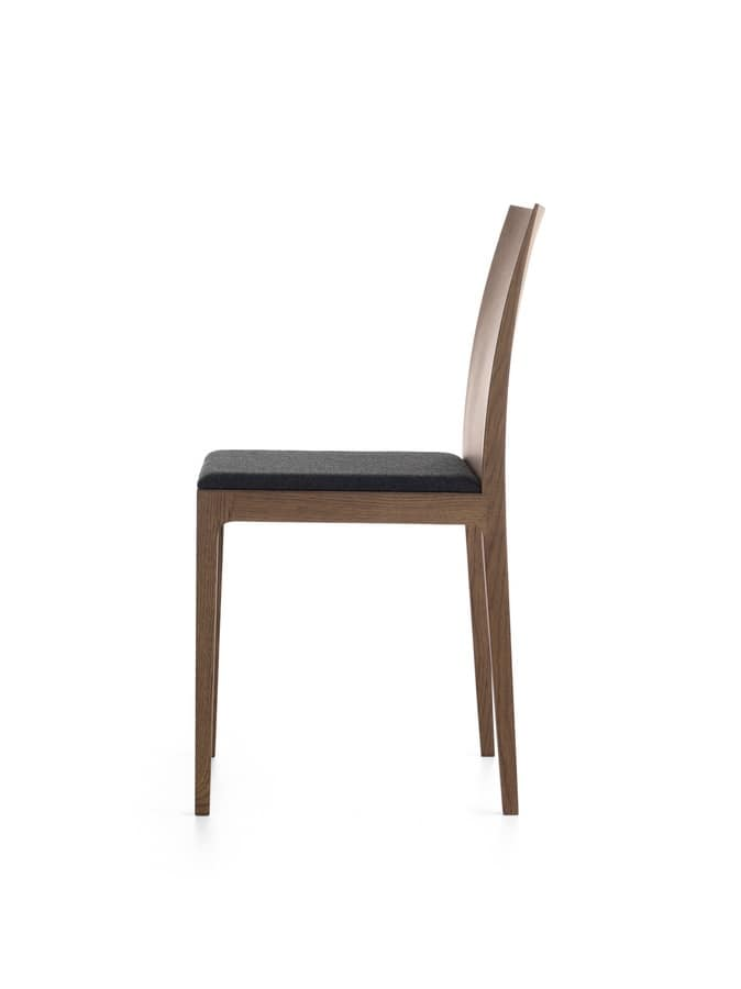Anna R, Wooden chair with padded seat and backrest