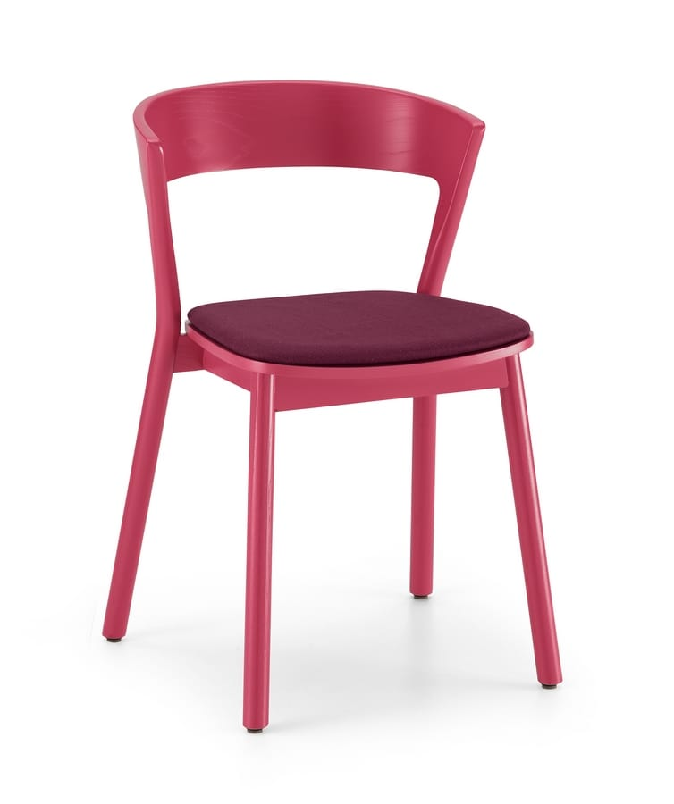 ART. 0071-IMB EDITH, Chair in solid wood varnished, with upholstered seat