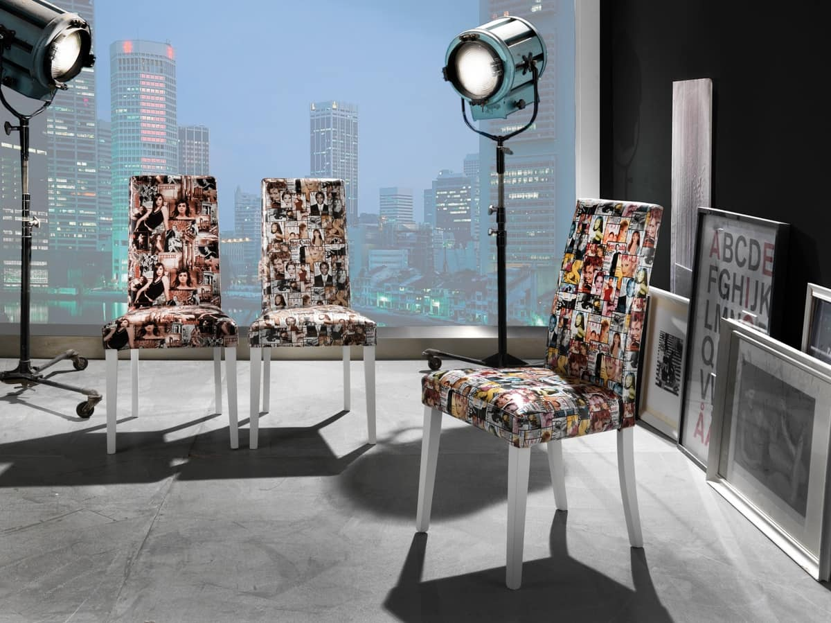 Art. 121 Vertigo Fantasy, Dining chair, with eco-leather upholstery in various fantasies