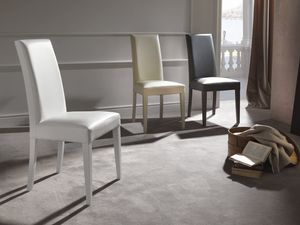 Art. 122 Vertigo Slim, Chair upholstered in leather, wooden legs in matching finish