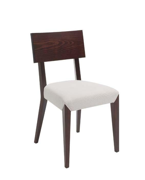 C40, Wooden chair, upholstered and covered in fabric seat, for contract and domestic use
