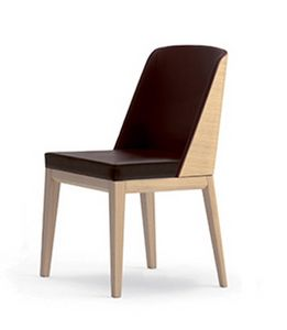 Elly Wood S, Padded chair with back side of backrest in wood