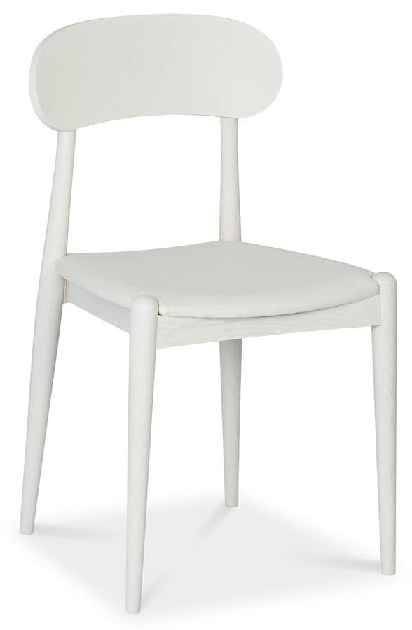 Evita, Ash wood chair, upholstered seat, for contract use