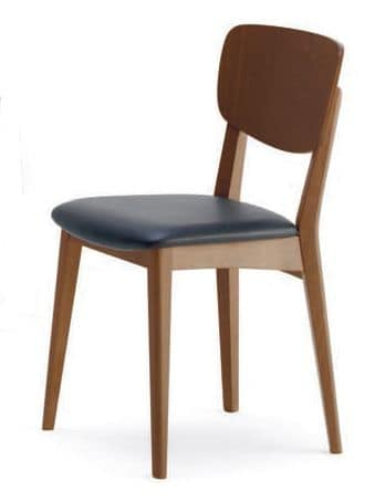 Gianna, Beech chair, upholstered seat, for business use