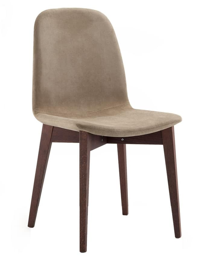 Katty, Padded chair upholstered in fabric, wood legs