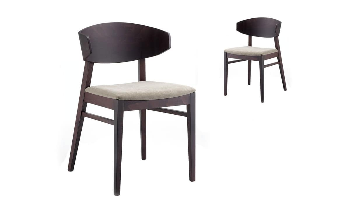 Lorena, Chair with seat upholstered in fabric