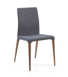 Marostica, Chair with high back, upholstered in leather or eco-leather