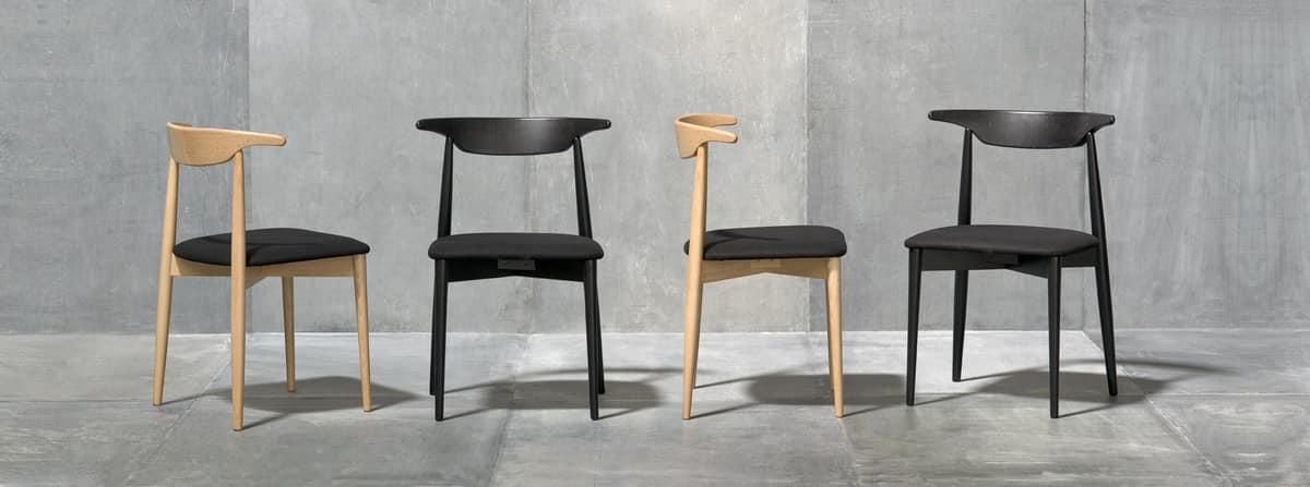 MUSICA, Versatile chair with padded seat, ergonomic backrest