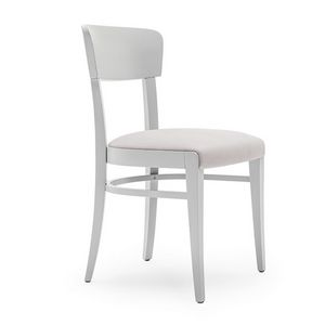 Steffy 00412, Chair in solid wood, upholstered seat and back, for contract and domestic use