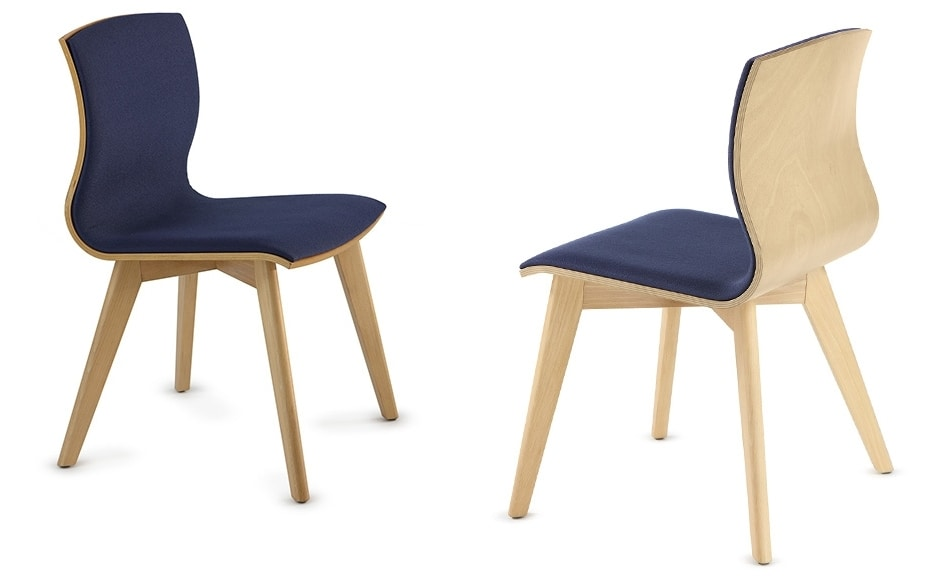 WEBWOOD 357Y, Wooden chair with upholstered seat