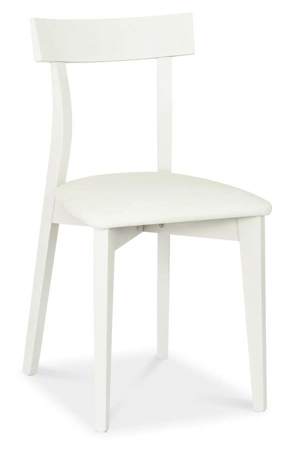 Zen, Beech wood chair with upholstered seat for contract use