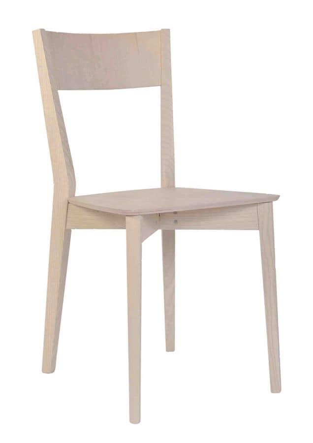 Aida, Linear chair in solid beech, made in italy