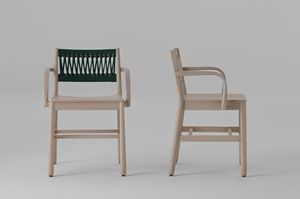 ART. 0024-IN-AR JULIE, Wooden chair with colored rope weaving