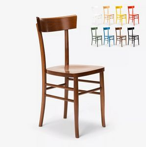 Classic rustic wooden chair for dining room kitchen bar restaurant Milano SM082MIL, Chair in colored wood