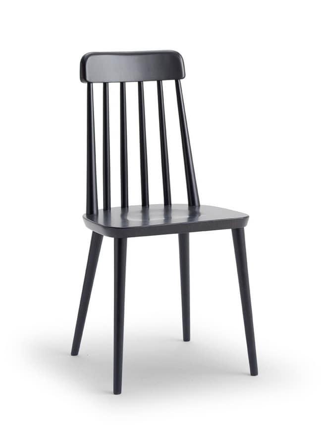 FARM, Chair in beech wood, with vertical slats backrest