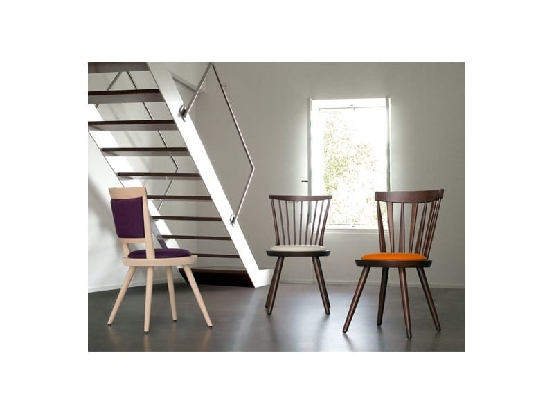 Isolda-S, Wooden chair with round padded seat