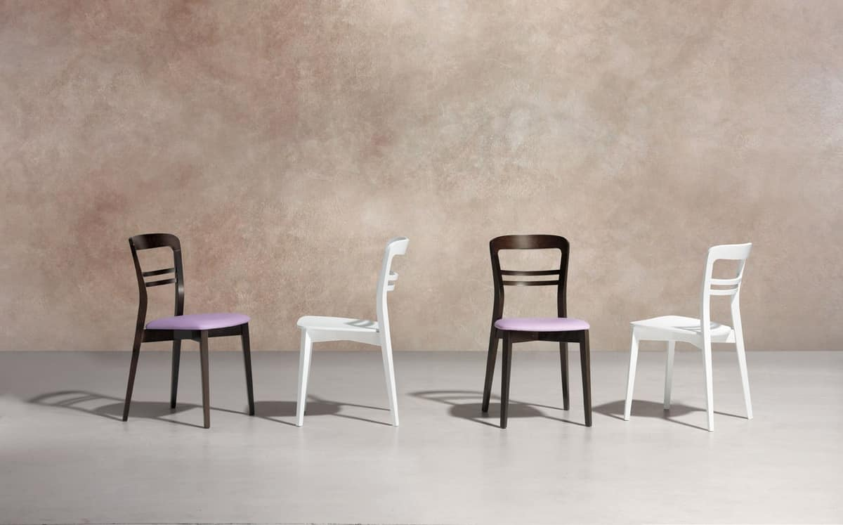 Minerva wood, Dining chair in wood, for modern style kitchens