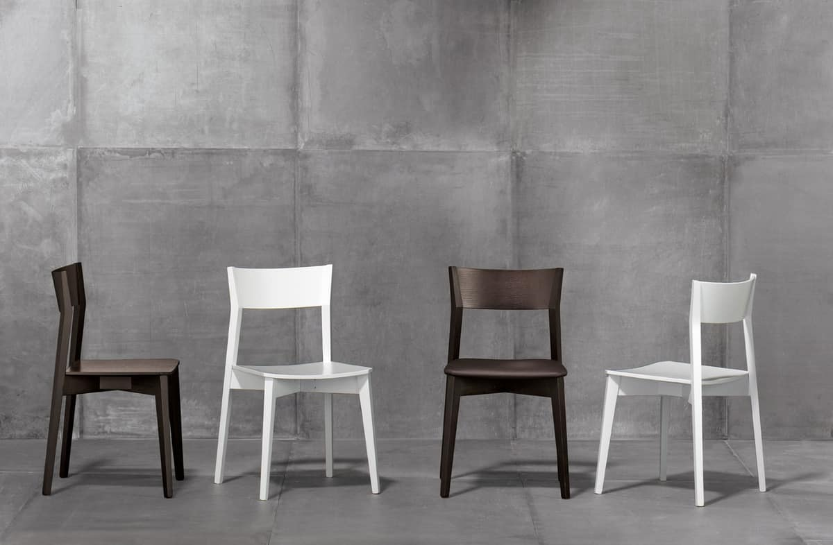 Miss wood, Stackable chair, in beech or ash wood