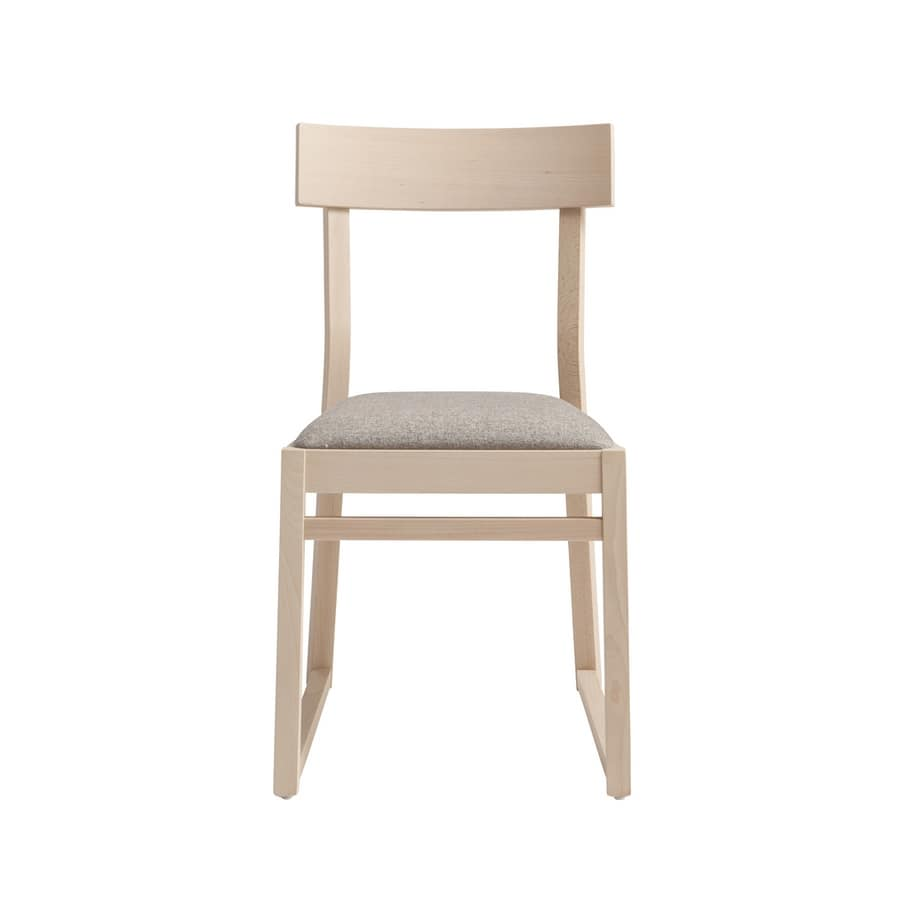MP439A, Chair with sled base, in beech wood