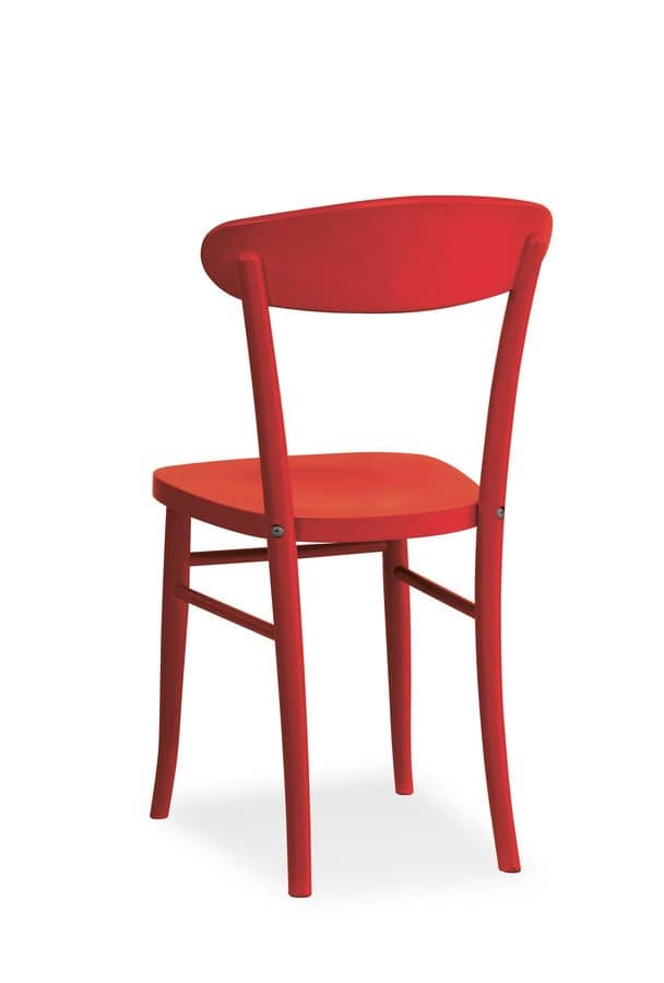 Pamela/EC, Chair entirely of solid wood, for contract use