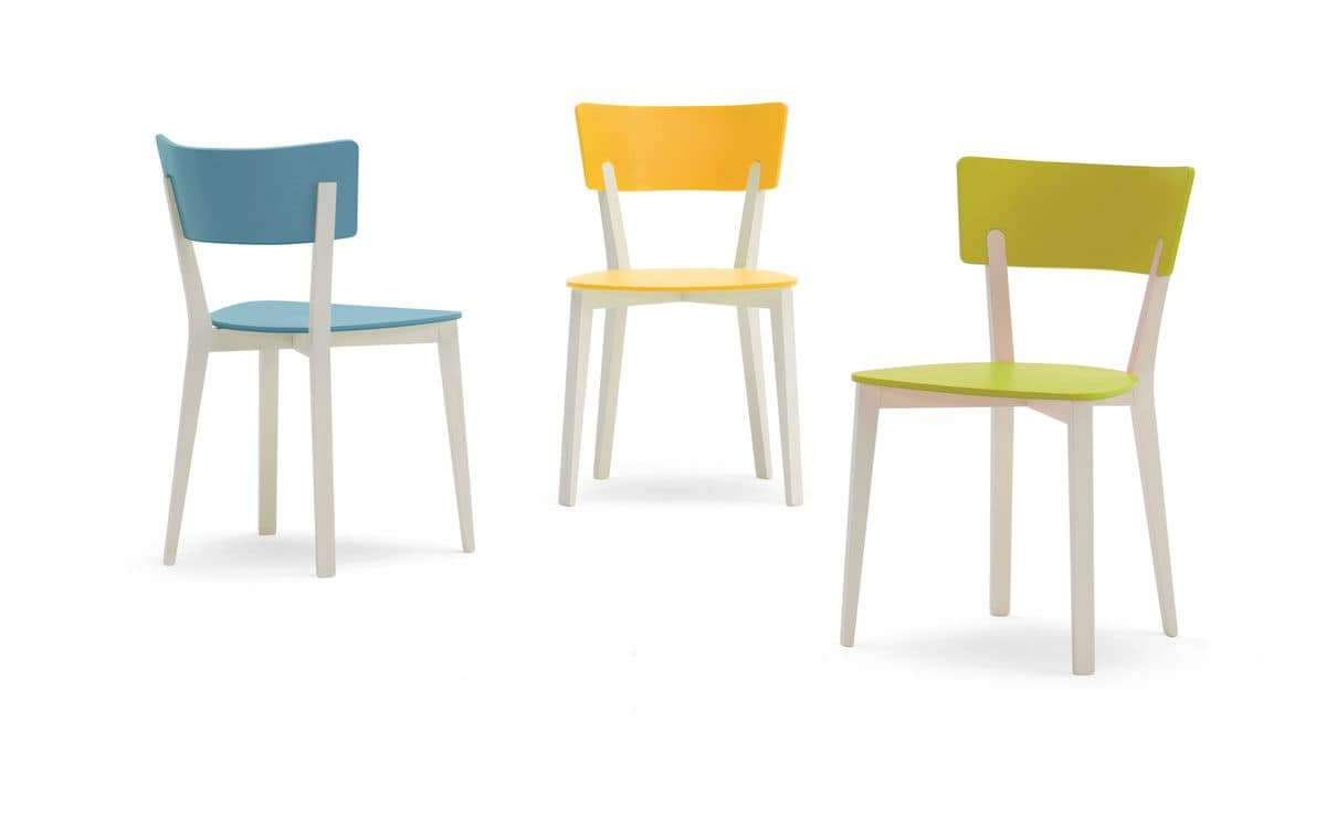 Roger, Chair in solid wood, large seat and back