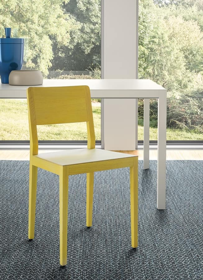 Seida, Chair in ash or oak wood, upholstered seat