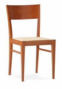 TEA, Rustic linear chair with woven straw seat