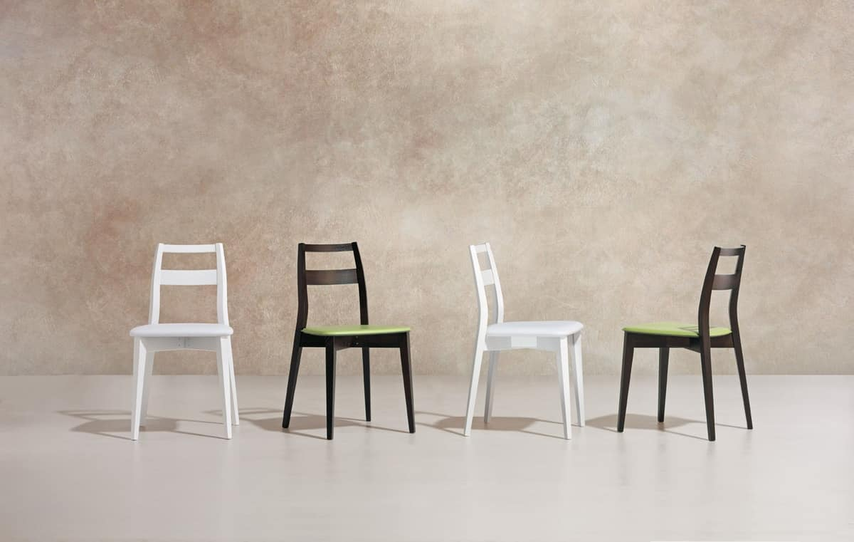 TRIS, Chair made of beech and ash, padded seat