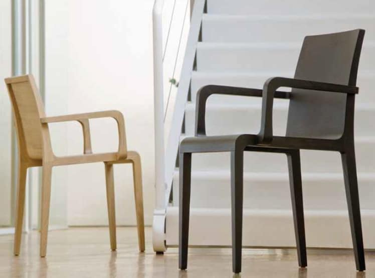 Young-P, Wooden chair with armrests, with sinuous design