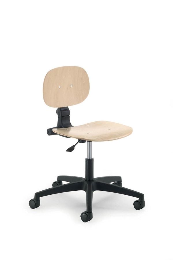 UF 424 stool, Stool on wheels, adjustable in height