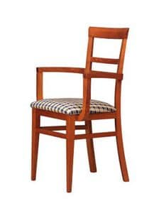 314 P, Wood chair, upholstered seat, for hotels