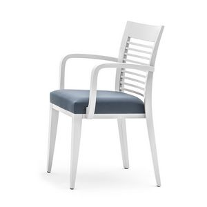 Logica 00925, Dining chair with armrest, stackable and with upholstered seat