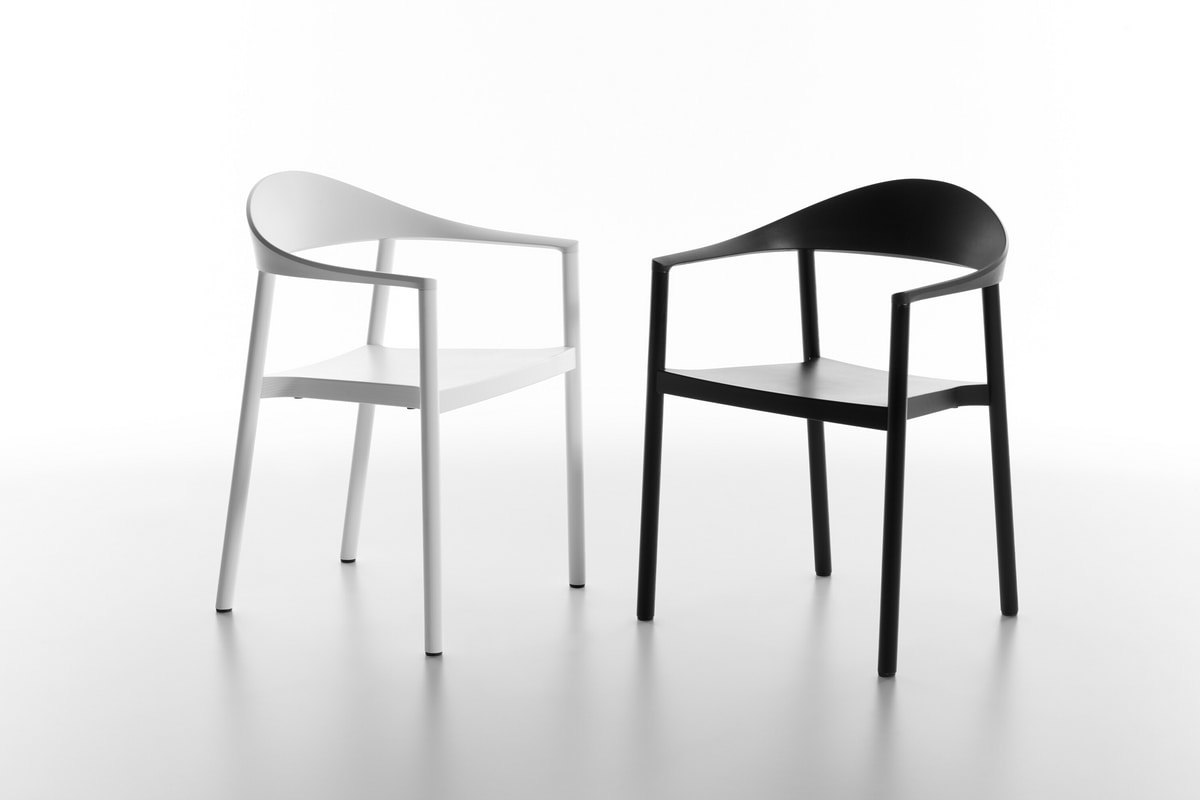 Monza armchair 1209-40, Stackable chair in painted ash, various colors