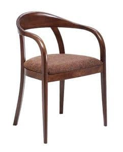 C27, Bentwood armchair with arms, upholstered and covered with fabric seat, for restaurants and hotels
