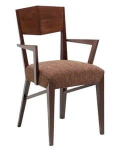C29, Wooden armchair with arms, upholstered and covered with fabric seat, for hotel and restaurants