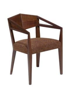 C32, Armchair with arms in solid wood, upholstered seat, fabric covering, for restaurants and bars