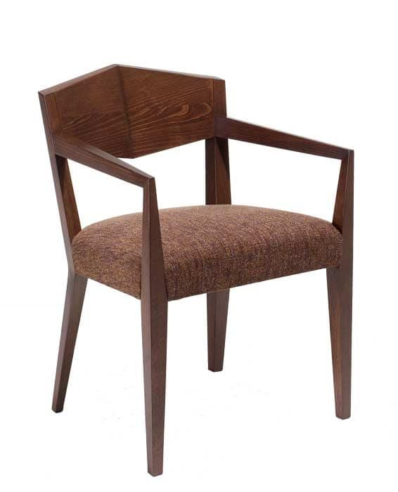 C34, Wooden armchair, upholstered and fabric covering seat, for hotels and restaurants