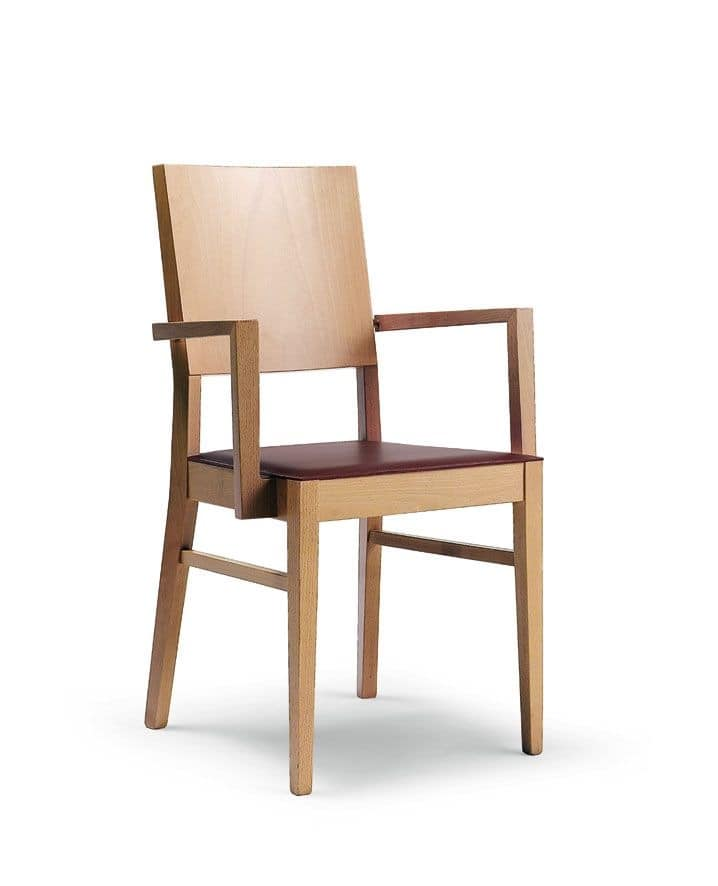 Chair Wooden Honeycomb Wood Regenerated Leather Seat