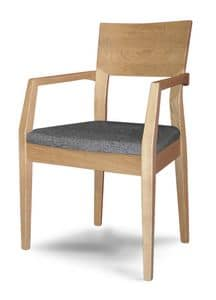 Giorgia P1, Beech chair with armrests, upholstered seat, for Kitchen