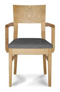 Giorgia P2, Chair in beech, with armrests, padded seat