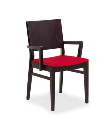 M02, Chair in beech wood, upholstered seat, modern style