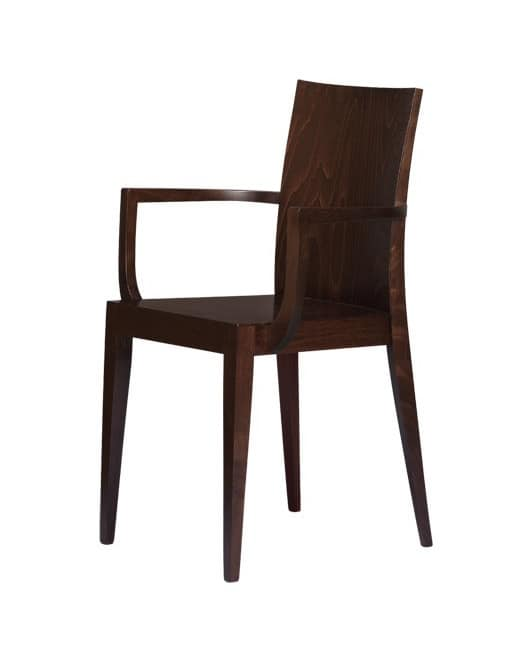 M08, Wooden chair with armrests, for contract use