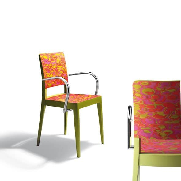 D06, Armchair with arms in wood and metal, for restaurants and bars